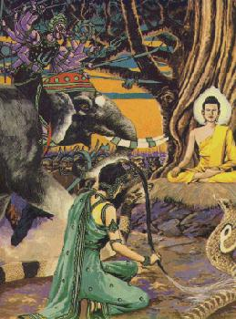 Mara dan Bala tentaranya mendatangi Boddhisatta