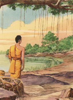 Boddhisatta tiba di Uruvela Senanigama dan mulai mempraktikkan praktik penyiksaan diri