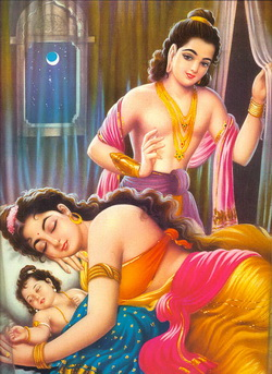 Boddhisatta melihat anak-istri sebelum pergi tinggalkan istana