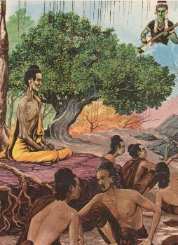 Boddhisatta mempraktikkan dukkaracariya ditemani 5 petapa disaksikan