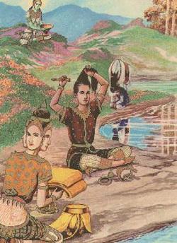 Brahma Ghatikara persembahkan perlengkapan petapa pada Boddhisatta