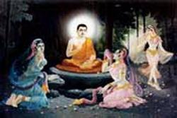 Buddha menasehati ketiga putri Mara untuk berhenti melakukan usaha sia2 untuk menggoyahkan Beliau