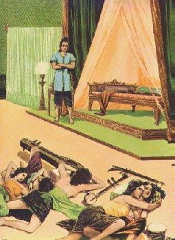 Pangeran Siddhattha jijik melihat penari2 yang tidur bagai bangkai