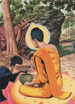 Pedagang Tapussa dan Bhallika mempersembahkan Kue Nasi dan Gumpalan Madu pada Buddha