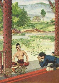 Pelayan memberitahu Pangeran Siddhatta bahwa Putri Yasodhara melahirkan seorang putra
