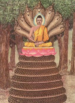 Raja Naga memayungi Sang Buddha dari hujan lebat di danau Mucalinda