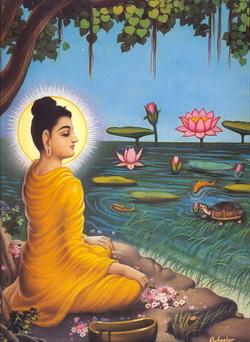 Senjata Mara yang ditujukan pada Boddhisatta berubah menjadi Teratai