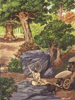 Seorang Dewa memberitahu Tapussa dan Bhallika keberadaan Buddha sementara empat dewa catummaharajika mempersembahkani Buddha mangkuk dibawah pohon Ket